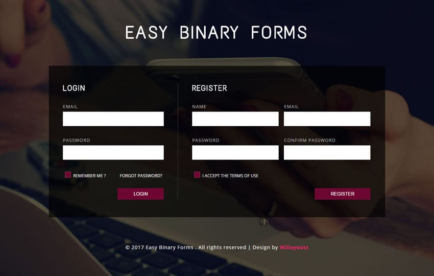 Easy Binary Forms a Flat Responsive Widget Template Mobile website template Free