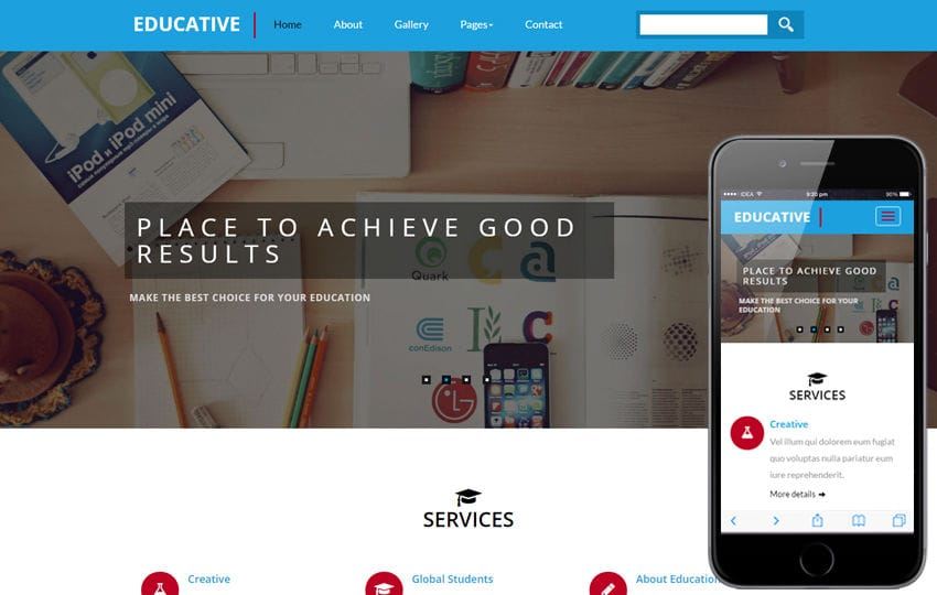 Educative an education Category Flat Bootstrap Responsive Web Template Mobile website template Free