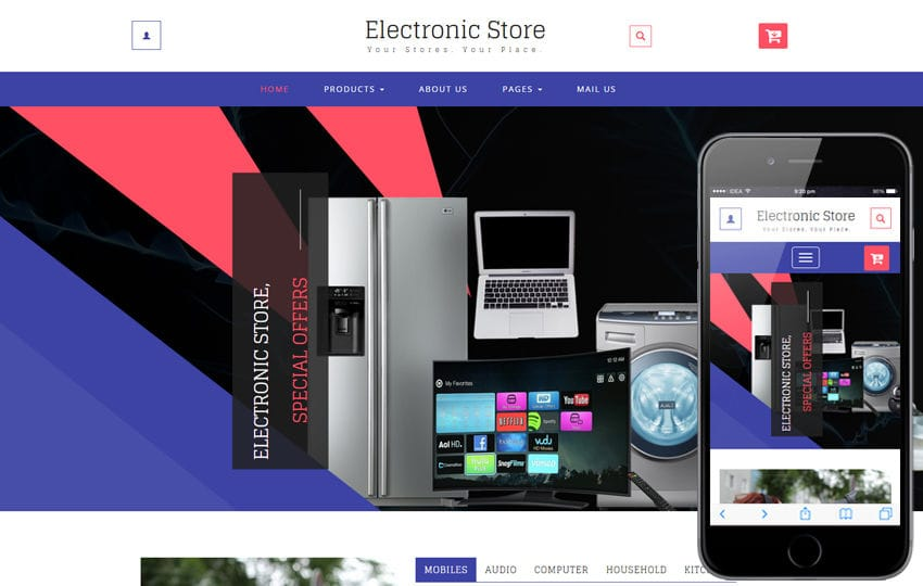 Electronic Store a Ecommerce Online Shopping Category Bootstrap Responsive Web Template Mobile website template Free