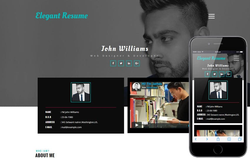 elegant resume a personal category flat bootstrap responsive web template - Resume Web Template