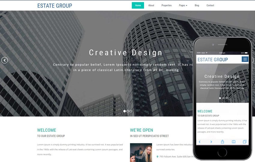 Estate Group a Real Estate Category Bootstrap Responsive Web Template Mobile website template Free