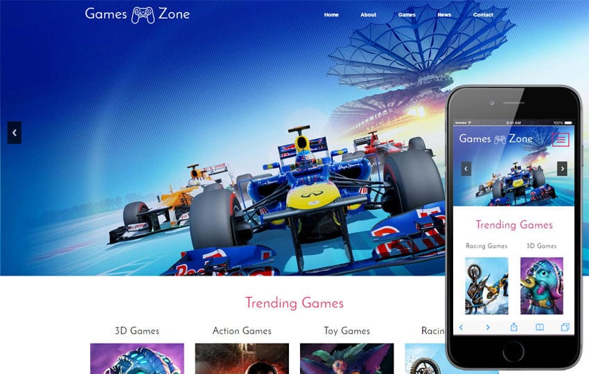 Games Zone a Games Category Flat Bootstrap Responsive Web Template Mobile website template Free