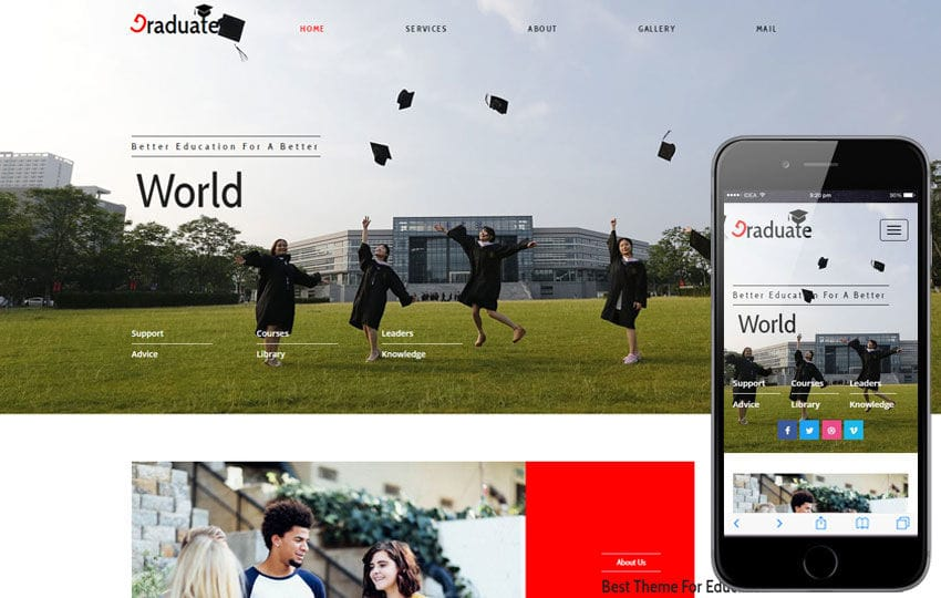 Graduate an Education Category Flat Bootstrap Responsive Web Template Mobile website template Free