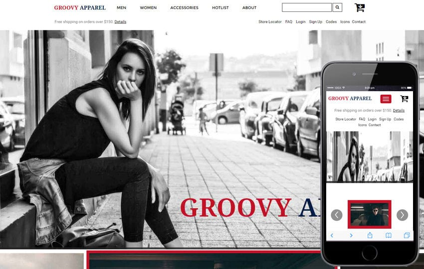 Groovy Apparel an Ecommerce Online Shopping Bootstrap Responsive Web Template Mobile website template Free