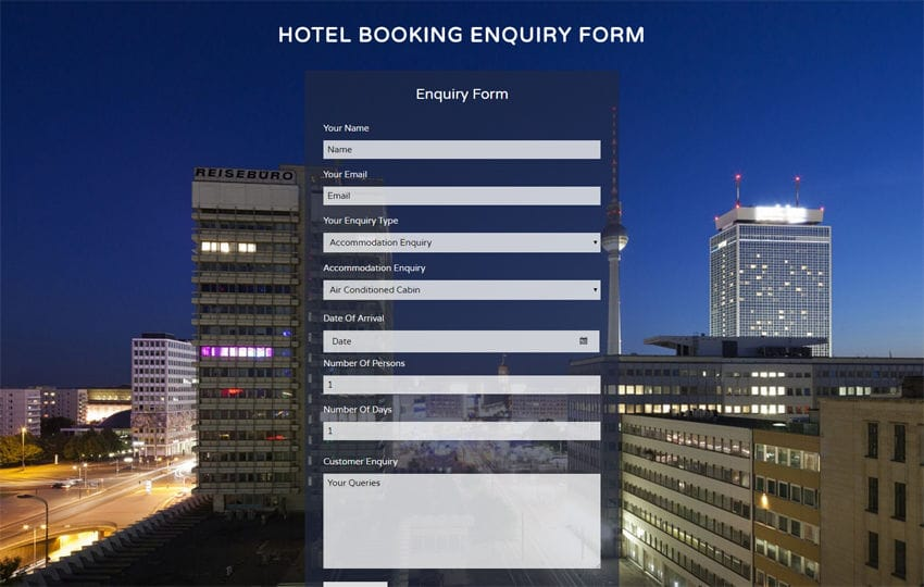Hotel Booking Enquiry Form Widget a Flat Responsive Widget Template Mobile website template Free