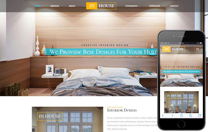 In house an interior and furniture responsive web template for Furniture templates for room design