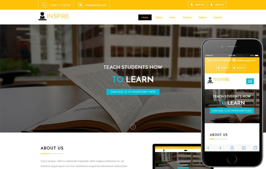 Inspire an Education Category Flat Bootstrap Responsive Web Template Mobile website template Free