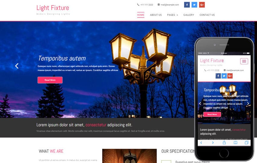 Light Fixture an Interior and Furniture Category Flat Bootstrap Responsive Web Template Mobile website template Free