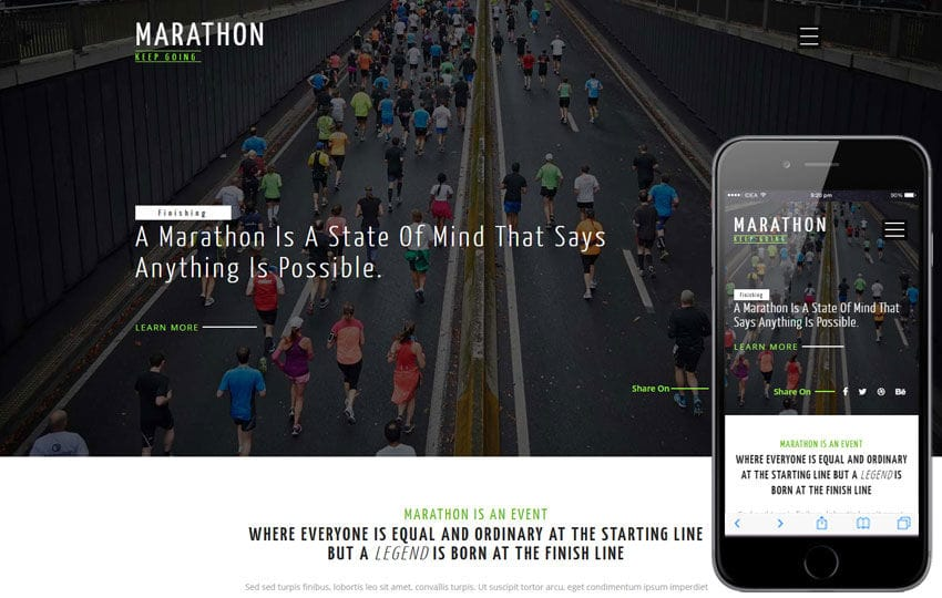 Marathon a Sports Category Flat Bootstrap Responsive Web Template Mobile website template Free