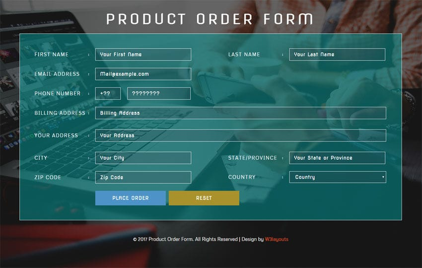 Product Order Form Flat Responsive Widget Template