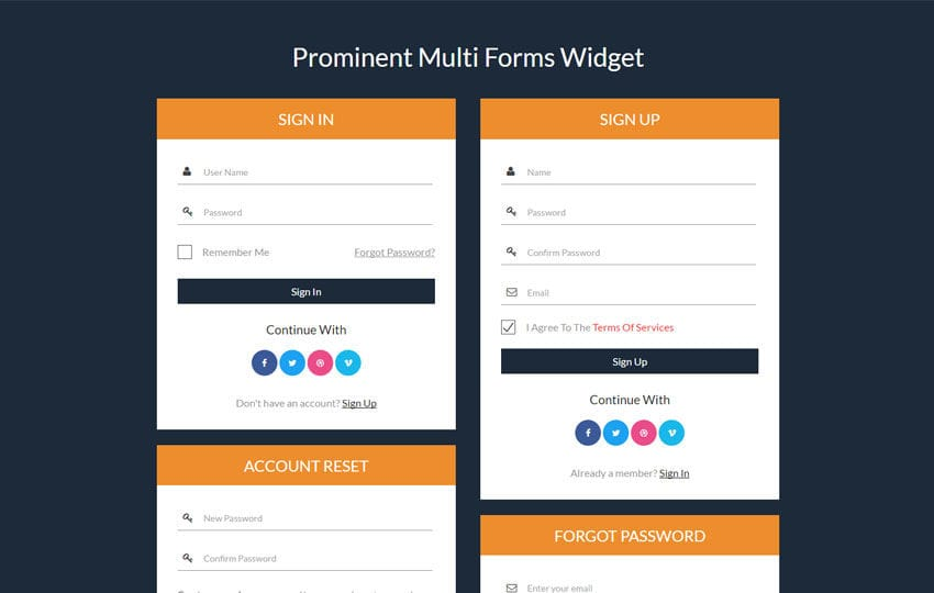 Prominent Multi Forms Widget a Flat Responsive Widget Template Mobile website template Free