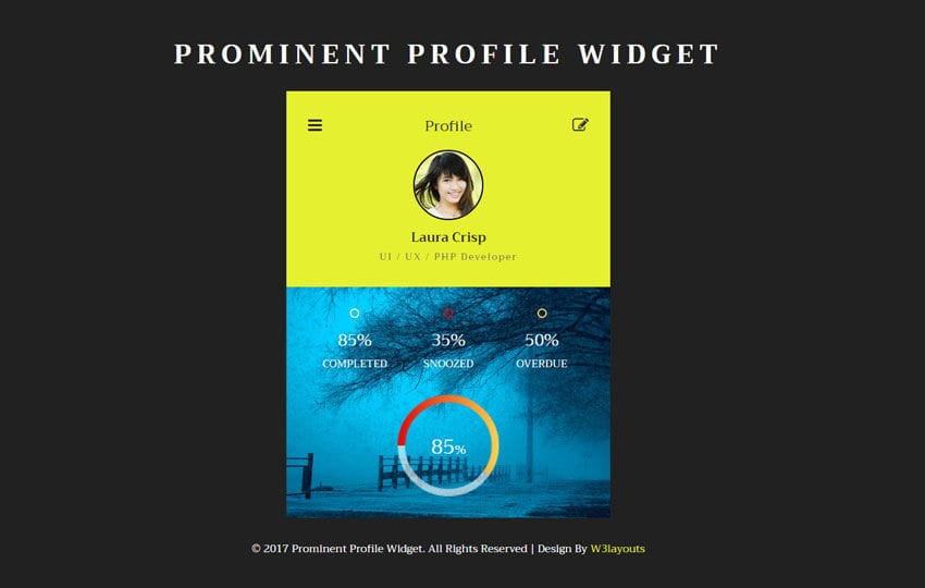 Prominent Profile Widget Flat Responsive Widget Template Mobile website template Free
