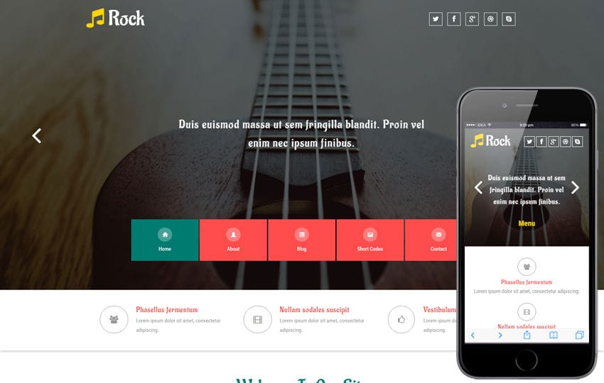 Rock a Entertainment Category Flat Bootstrap Responsive web Template Mobile website template Free