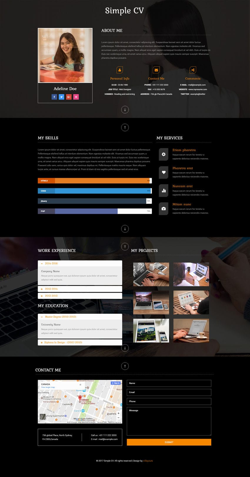 simple cv a personal category bootstrap responsive web