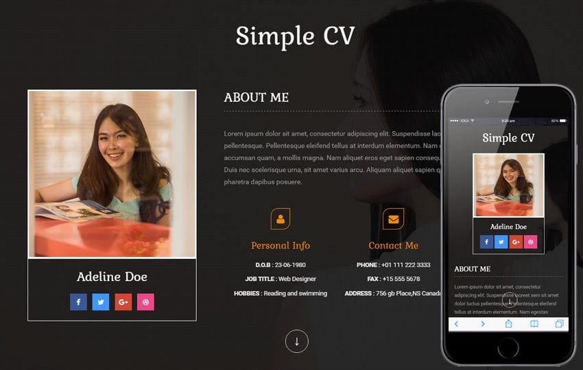 Personal Website Mobile Templates Designs Free - Free responsive personal website templates