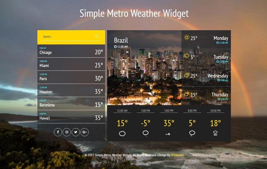 Simple Metro Weather Widget Flat Responsive Widget Template Mobile website template Free