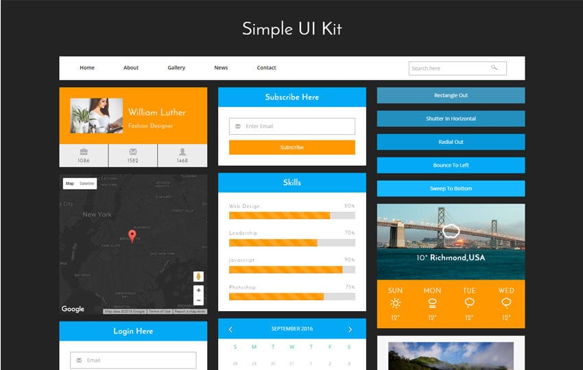 Simple UI Kit a Flat Bootstrap Responsive Web Template Mobile website template Free