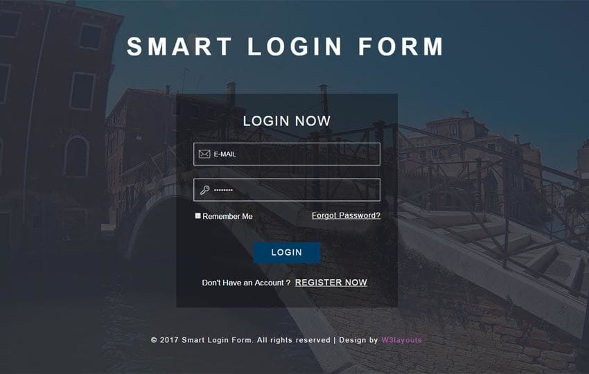 Smart login form responsive widget template for Aspx login page template