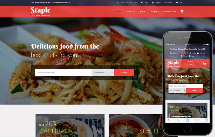Staple Food a Restaurants Category Bootstrap Responsive Web Template Mobile website template Free
