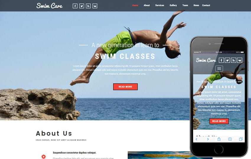 Swim Care a Sports Category Flat Bootstrap Responsive Web Template Mobile website template Free