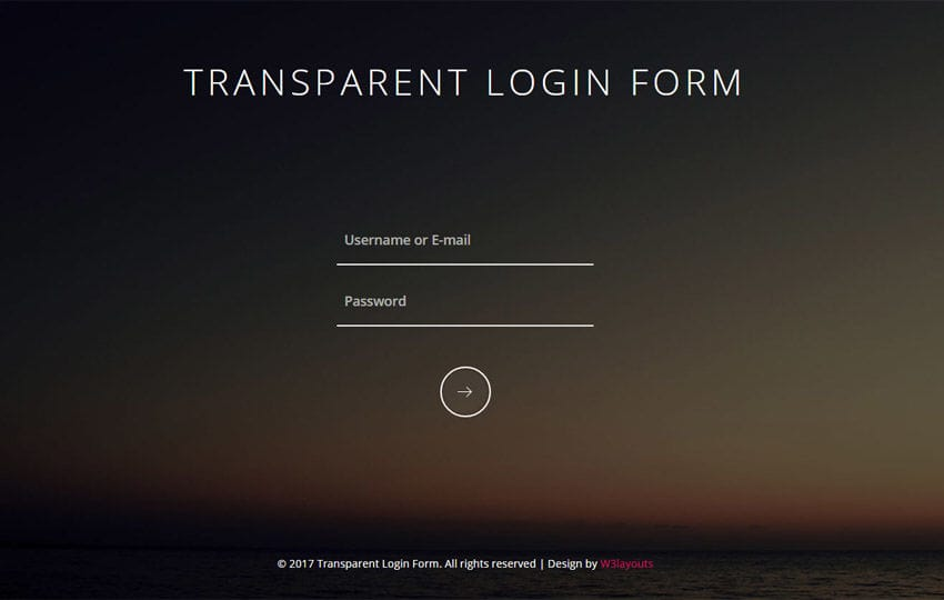 Transparent Login Form Responsive Widget Template
