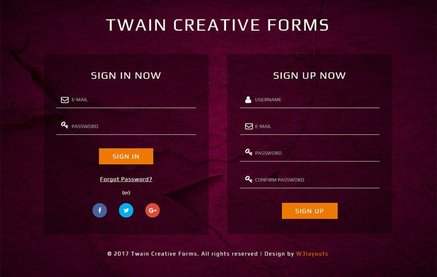 Twain Creative Forms Responsive Widget Template Mobile website template Free