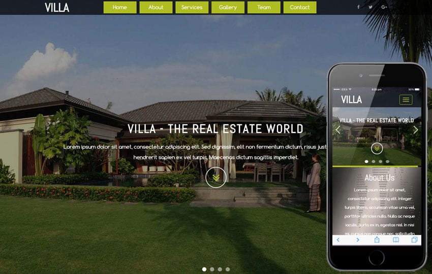 Villa a Real Estates and Builders Category Flat Bootstrap Responsive web Template Mobile website template Free