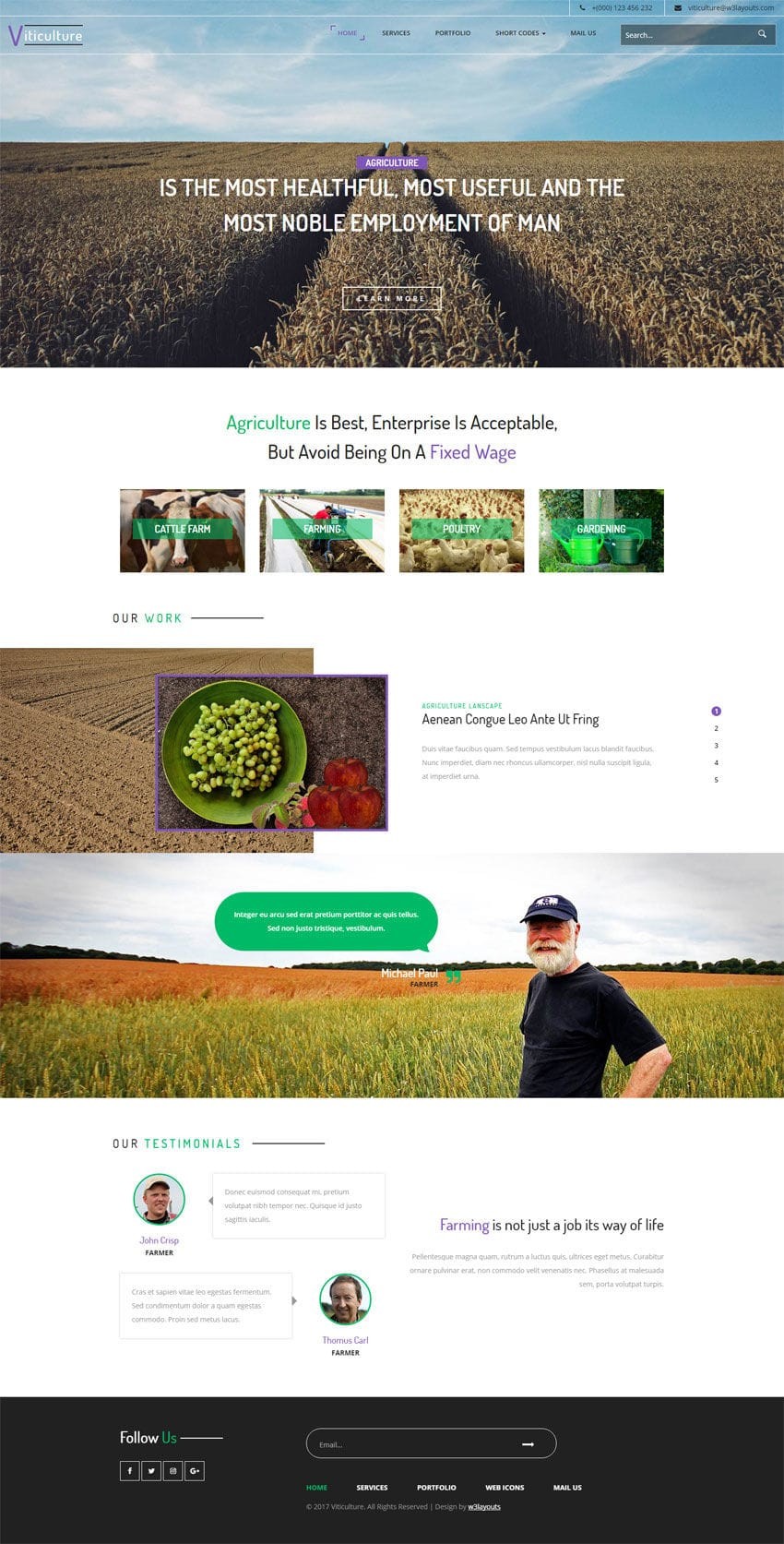 Viticulture an Agriculture Category Flat Bootstrap Responsive Web ...