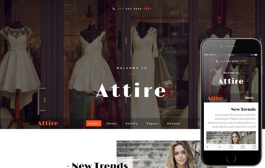 Attire a Fashion Category Bootstrap Responsive Web Template Mobile website template Free