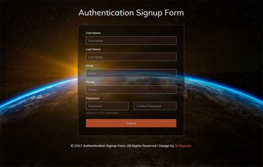 Authentication Signup Form Flat Responsive Widget Template Mobile website template Free