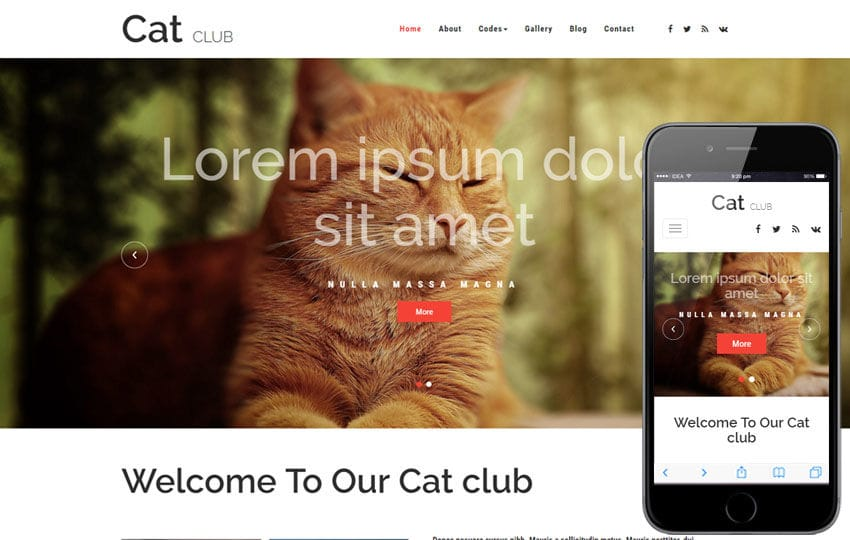 Cat Club an Animals and Pets Bootstrap Responsive Web Template Mobile website template Free