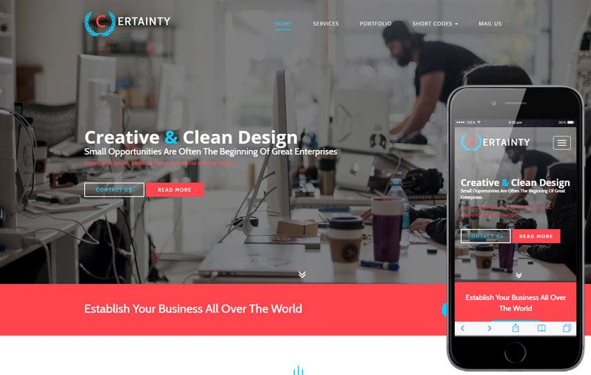 Certainty a Corporate Business Category Flat Bootstrap Responsive Web Template Mobile website template Free