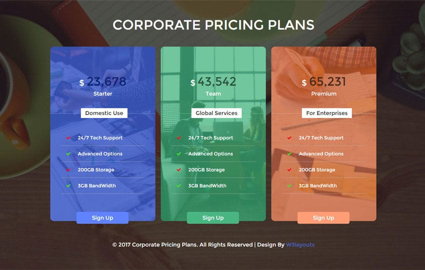 Corporate Pricing Plans Flat Responsive Widget Template Mobile website template Free