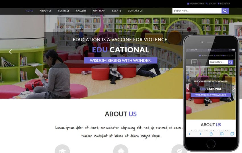 Educational an Education Category Bootstrap Responsive Web Template Mobile website template Free
