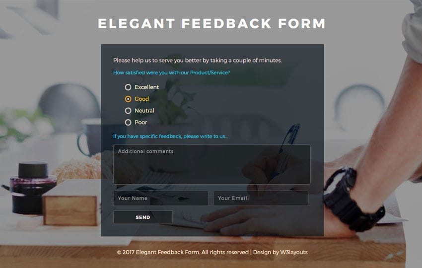Elegant Feedback Form Flat Responsive Widget Template Mobile website template Free