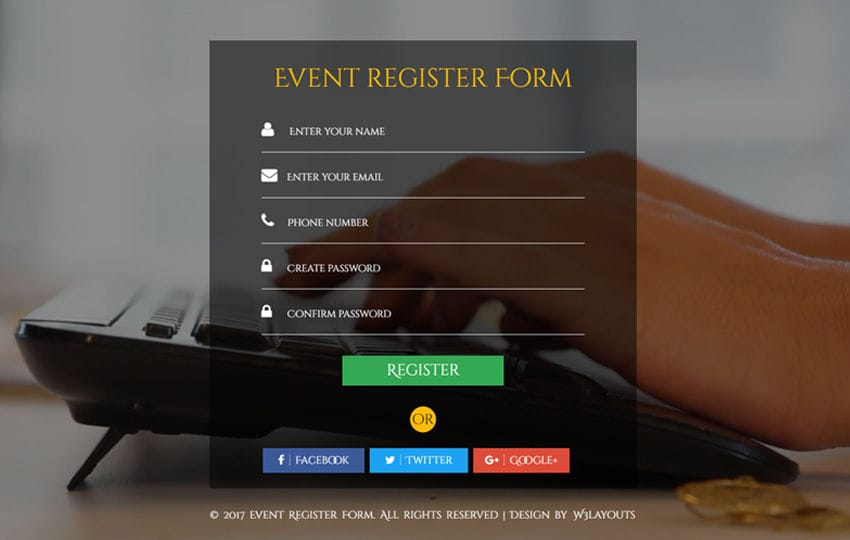 Event Register Form Flat Responsive Widget Template Mobile website template Free