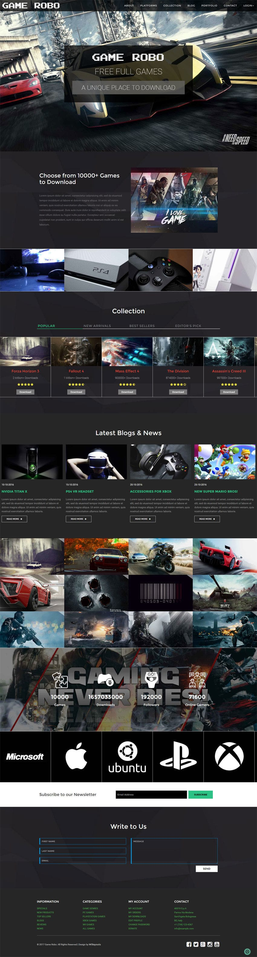 game robo a games category bootstrap responsive web template. Black Bedroom Furniture Sets. Home Design Ideas