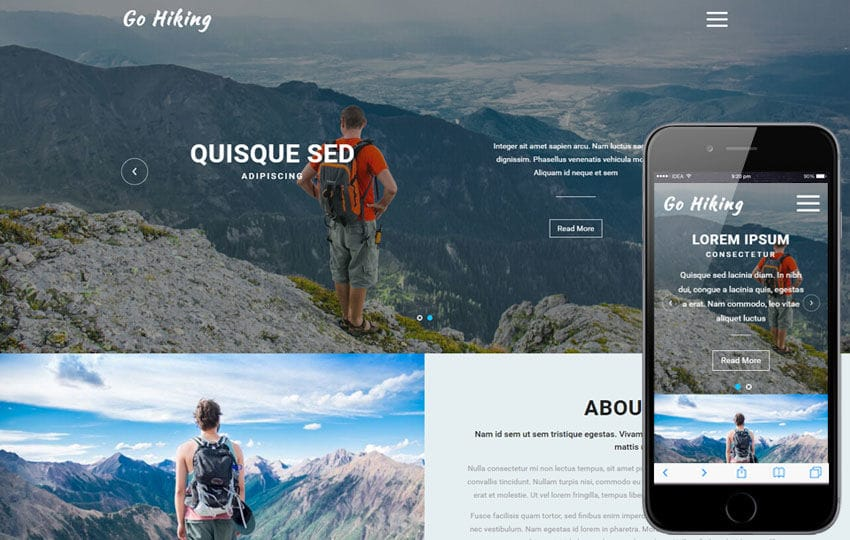 Go Hiking a Sports Category Flat Bootstrap Responsive Web Template Mobile website template Free