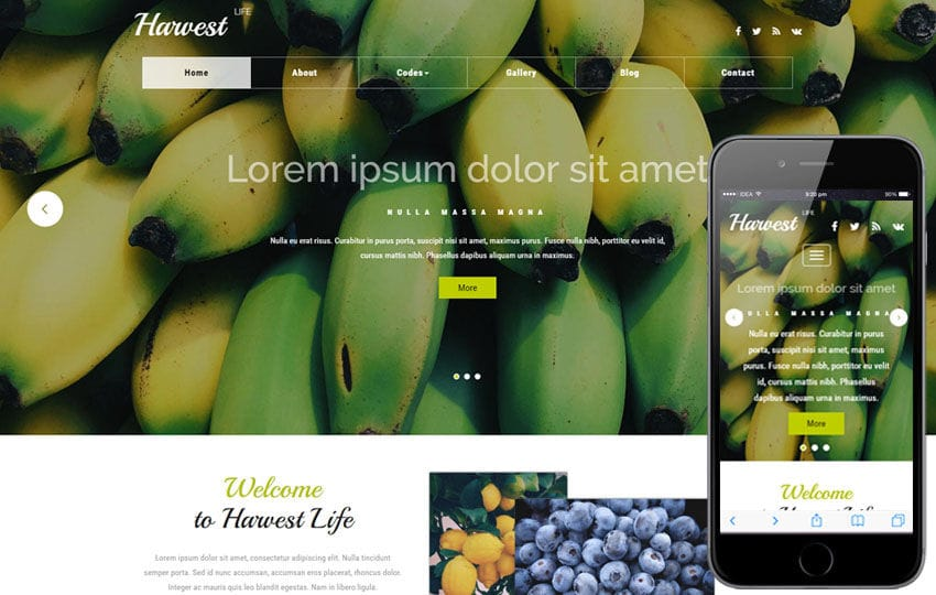 Harvest Life an Agriculture Category Bootstrap Responsive Web Template Mobile website template Free