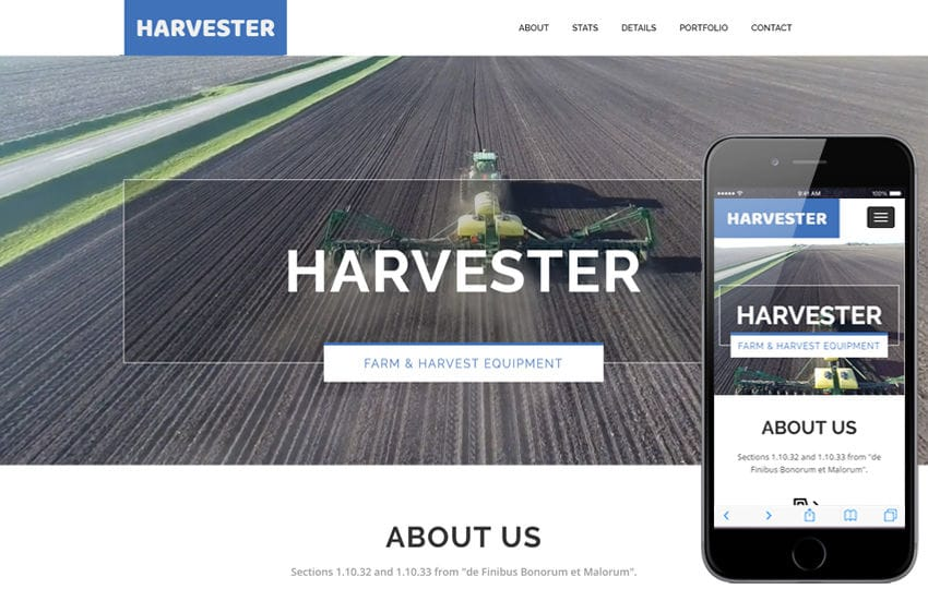 Harvester a Agriculture Category Flat Bootstrap Responsive Web Template