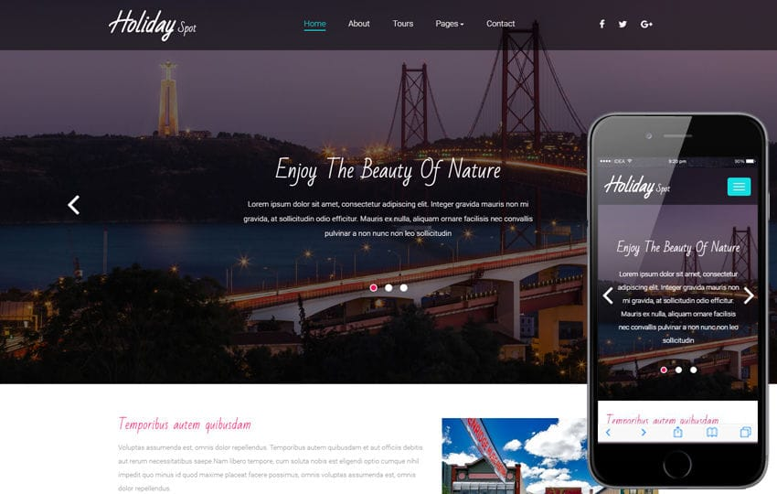 Holiday Spot a Travel Category Bootstrap Responsive Web Template Mobile website template Free