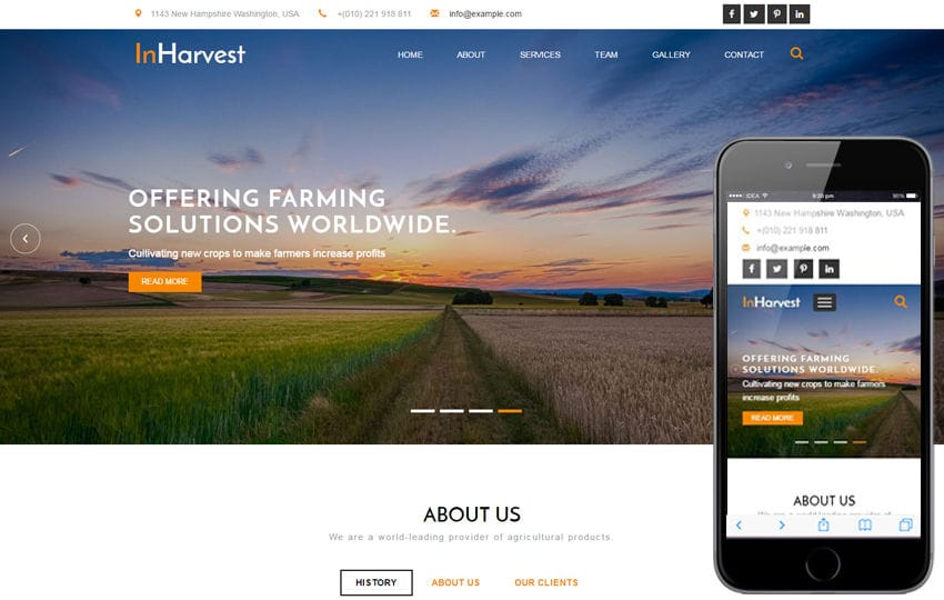 In Harvest an Agriculture Category Flat Bootstrap Responsive Web Template Mobile website template Free