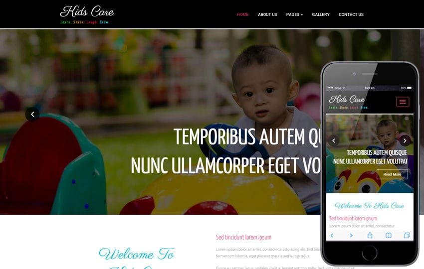 Kids Care a Society and People Category Bootstrap Responsive Web Template Mobile website template Free