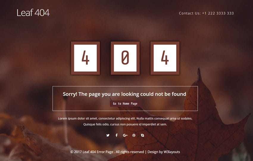 Leaf 404 Error Page Flat Responsive Widget Template Mobile website template Free