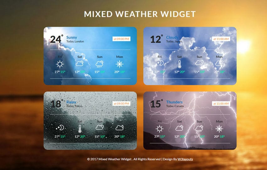 Mixed Weather Widget Flat Responsive Widget Template Mobile website template Free