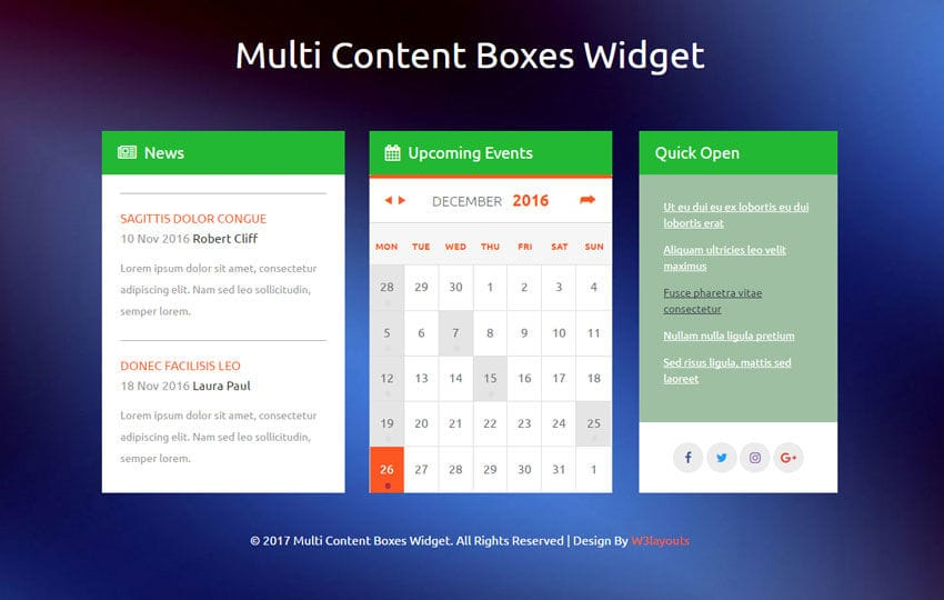 Multi Content Boxes Widget a Flat Responsive Widget Template Mobile website template Free