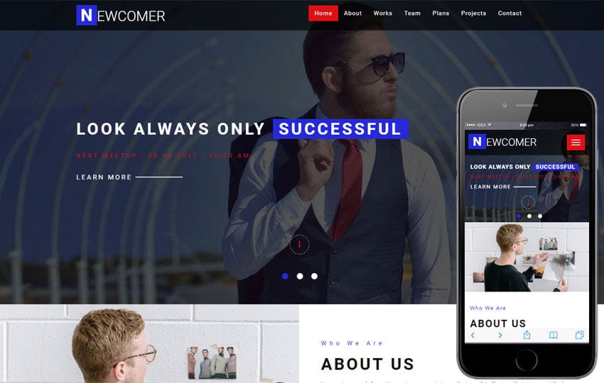 Newcomer a Corporate Business Category Bootstrap Responsive Web Template Mobile website template Free