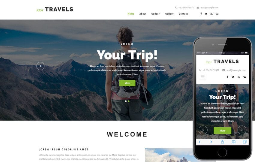 Njoy Travels a Travel Category Bootstrap Responsive Web Template Mobile website template Free