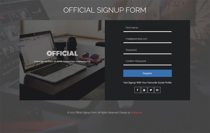Official Signup Form Flat Responsive Widget Template Mobile website template Free