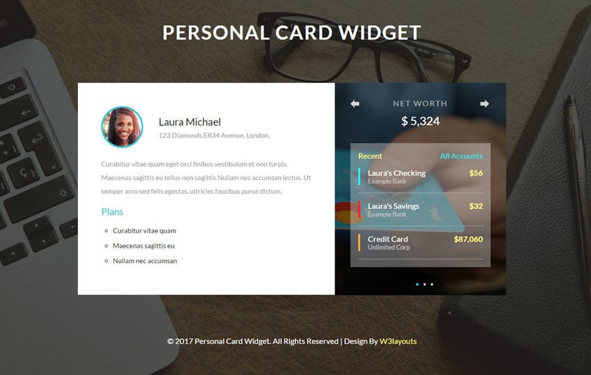 Personal Card Widget a Flat Responsive Widget Template Mobile website template Free